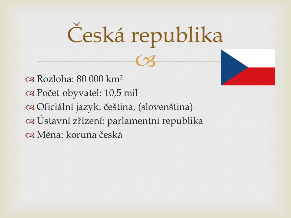   Rozloha: 80 000 km²  Počet obyvatel: 10,5 mil  Oficiální jazyk: čeština, (slovenština)  Ústavní zřízení: parlamentní republika  Měna: koruna č