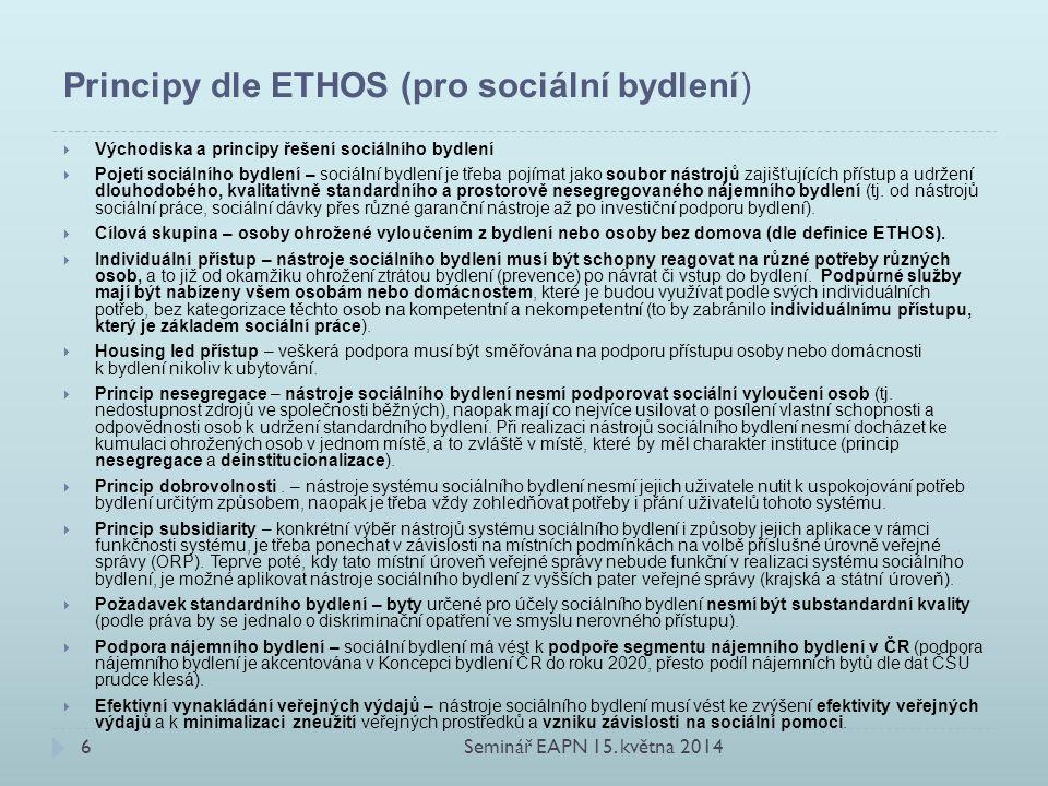 Principy dle ETHOS (pro sociální bydlení)  Východiska a principy řešení sociálního bydlení  Pojetí sociálního bydlení – sociální bydlení je třeba pojímat jako soubor nástrojů zajišťujících přístup a udržení dlouhodobého, kvalitativně standardního a prostorově nesegregovaného nájemního bydlení (tj.