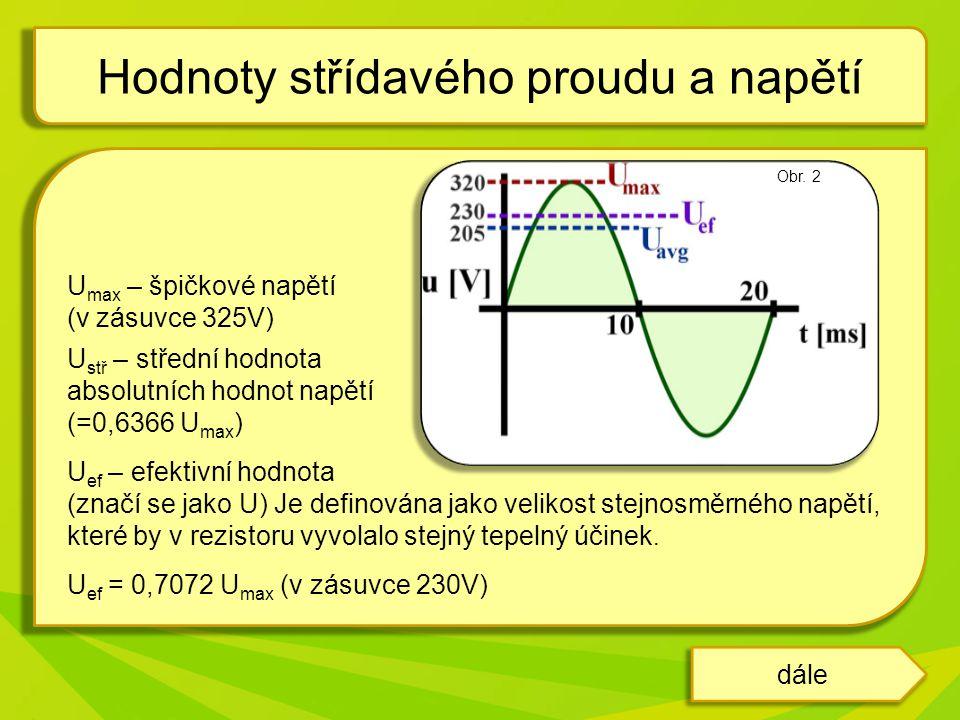 Střídavý proud popisujeme rovnicí: i – je okamžitá hodnota střídavého proudu I m – amplituda proudu φ – fázový rozdíl mezi napětím a proudem V praxi používáme I ef a označujeme ho jako I.