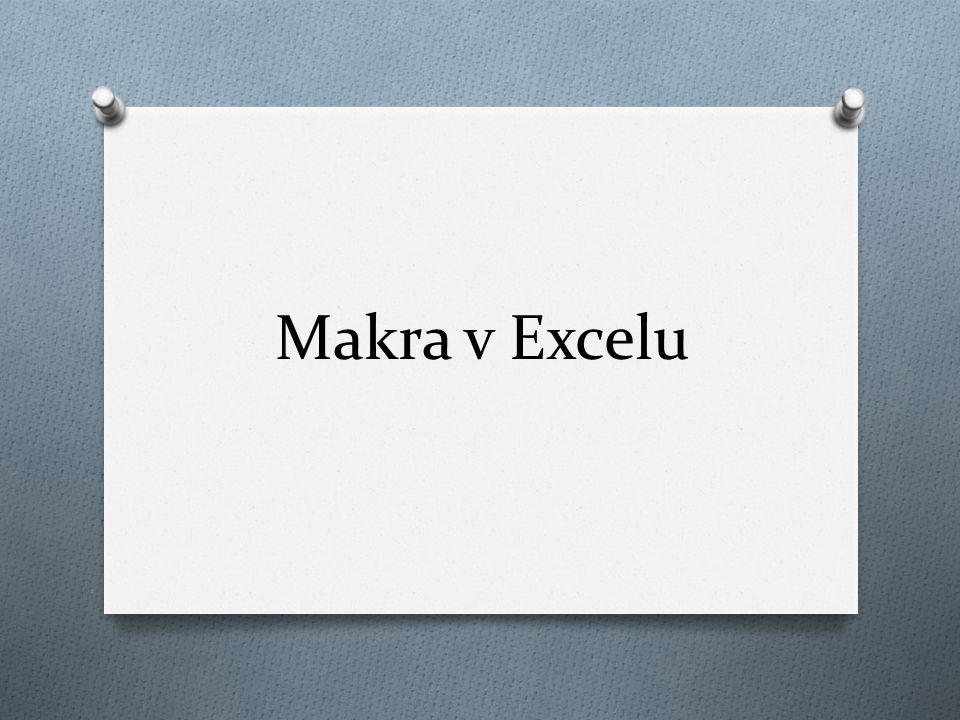 Obecná definice makra: Definice Makro je strukturovanou definicí jedné nebo několika akcí, které chceme, aby MS Excel vykonal jako odezvu na nějakou námi definovanou událost