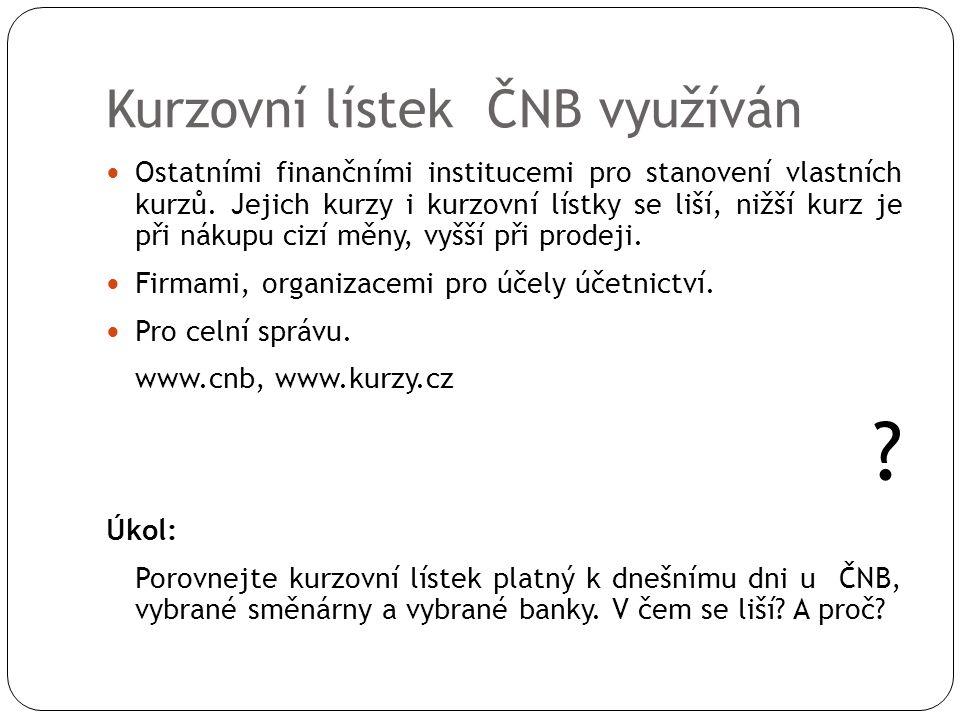 Kurzovní lístek ČNB využíván  Ostatními finančními institucemi pro stanovení vlastních kurzů. Jejich kurzy i kurzovní lístky se liší, nižší kurz je p