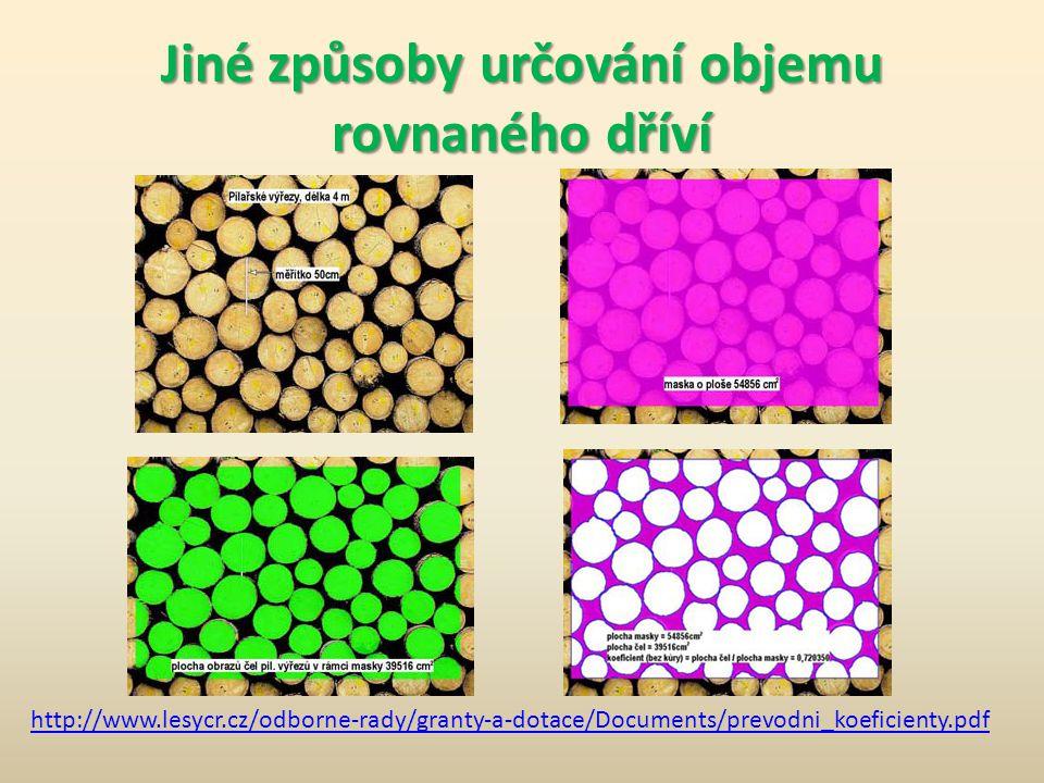 Jiné způsoby určování objemu rovnaného dříví http://www.lesycr.cz/odborne-rady/granty-a-dotace/Documents/prevodni_koeficienty.pdf