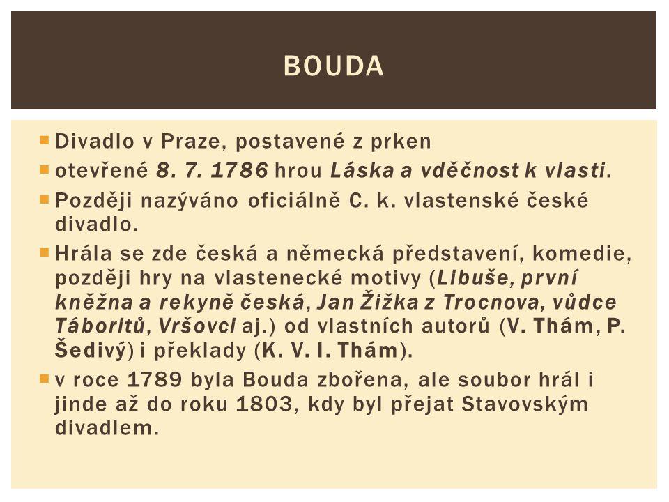  Divadlo v Praze, postavené z prken  otevřené 8. 7. 1786 hrou Láska a vděčnost k vlasti.  Později nazýváno oficiálně C. k. vlastenské české divadlo