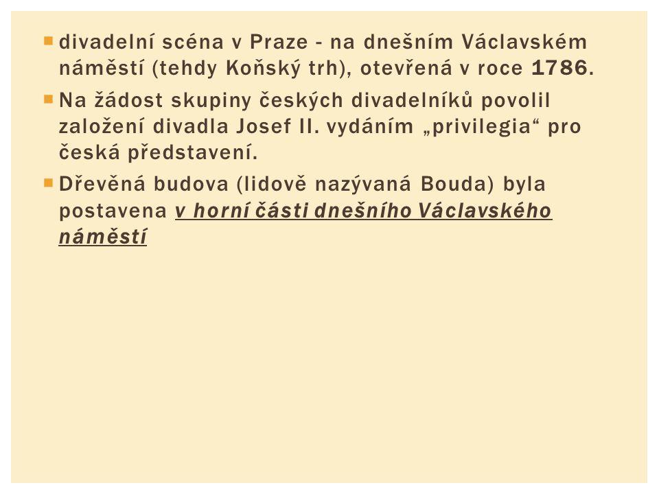  divadelní scéna v Praze - na dnešním Václavském náměstí (tehdy Koňský trh), otevřená v roce 1786.  Na žádost skupiny českých divadelníků povolil za