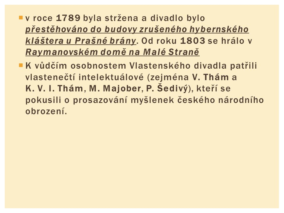  v roce 1789 byla stržena a divadlo bylo přestěhováno do budovy zrušeného hybernského kláštera u Prašné brány. Od roku 1803 se hrálo v Raymanovském d