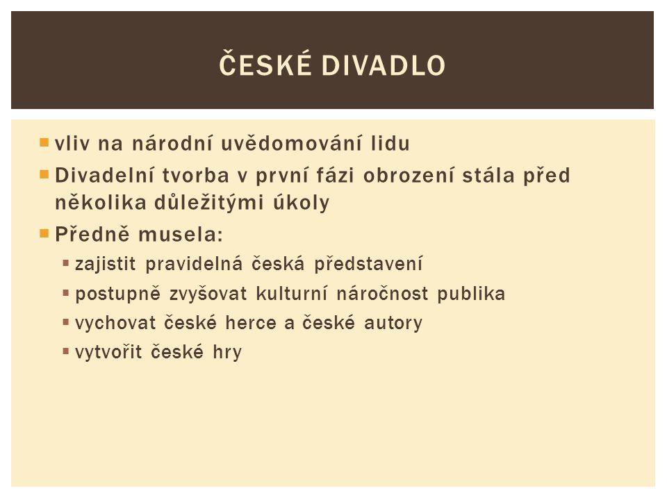  vliv na národní uvědomování lidu  Divadelní tvorba v první fázi obrození stála před několika důležitými úkoly  Předně musela:  zajistit pravideln