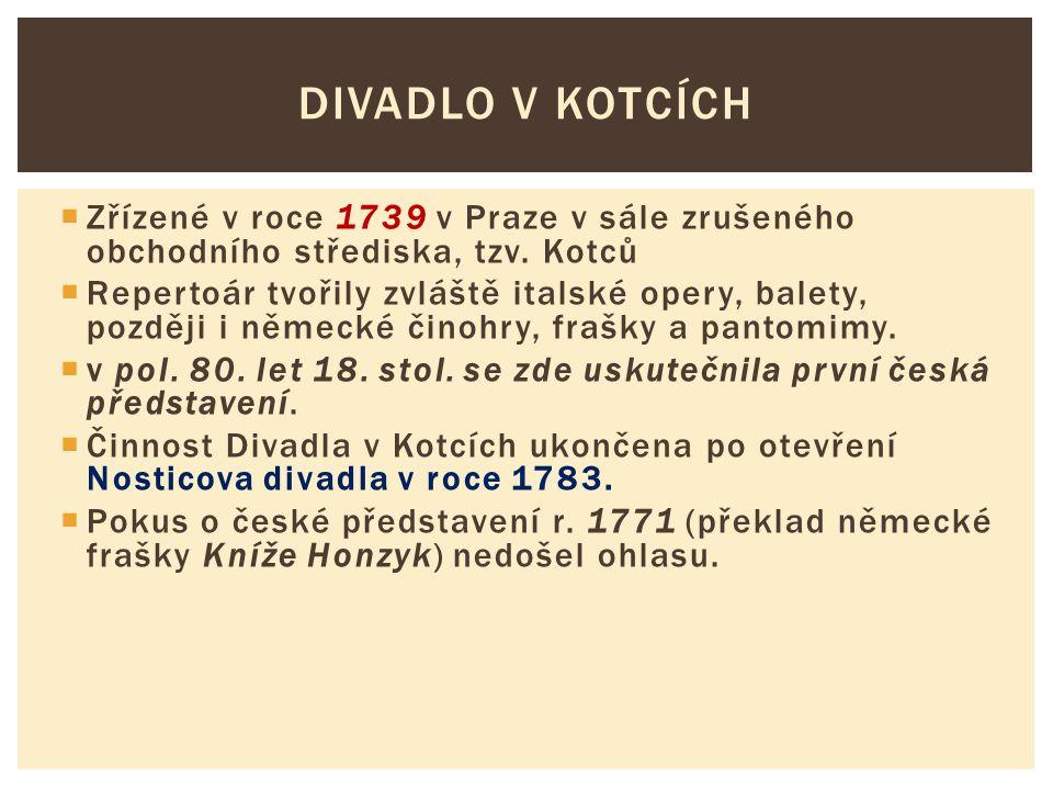  Zřízené v roce 1739 v Praze v sále zrušeného obchodního střediska, tzv. Kotců  Repertoár tvořily zvláště italské opery, balety, později i německé č