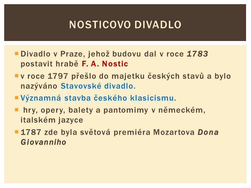  Divadlo v Praze, jehož budovu dal v roce 1783 postavit hrabě F. A. Nostic  v roce 1797 přešlo do majetku českých stavů a bylo nazýváno Stavovské di