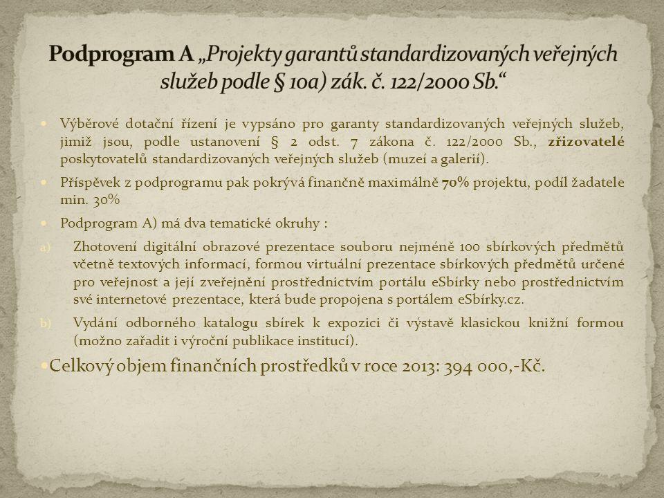  Výběrové dotační řízení je vypsáno pro garanty standardizovaných veřejných služeb, jimiž jsou, podle ustanovení § 2 odst. 7 zákona č. 122/2000 Sb.,