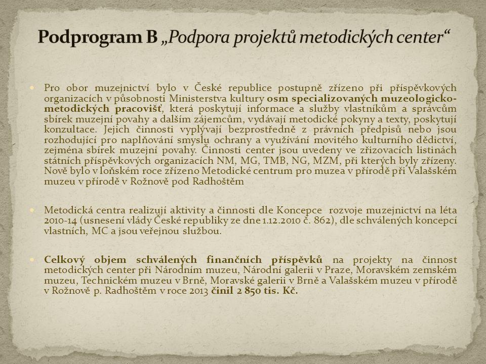  Pro obor muzejnictví bylo v České republice postupně zřízeno při příspěvkových organizacích v působnosti Ministerstva kultury osm specializovaných m