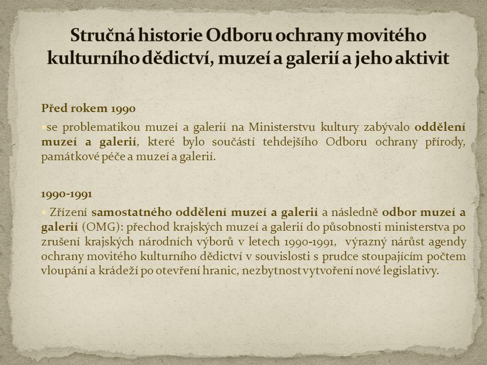 """1994-1999  vykonával OMG funkci zřizovatele ke 44 muzeím a galeriím,  připravil a rozvíjel meziresortní projekt """"Integrovaný systém ochrany movitého kulturního dědictví (ISO),  připravil zákon o prodeji a vývozu předmětů kulturní hodnoty (zákon č."""