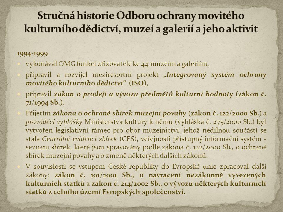 """1994-1999  vykonával OMG funkci zřizovatele ke 44 muzeím a galeriím,  připravil a rozvíjel meziresortní projekt """"Integrovaný systém ochrany movitého"""