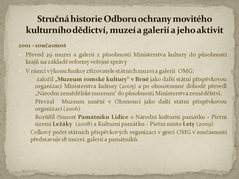 2001 - současnost  Převod 29 muzeí a galerií z působnosti Ministerstva kultury do působnosti krajů na základě reformy veřejné správy  V rámci výkonu