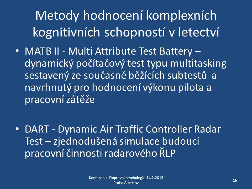 Metody hodnocení komplexních kognitivních schopností v letectví • MATB II - Multi Attribute Test Battery – dynamický počítačový test typu multitasking