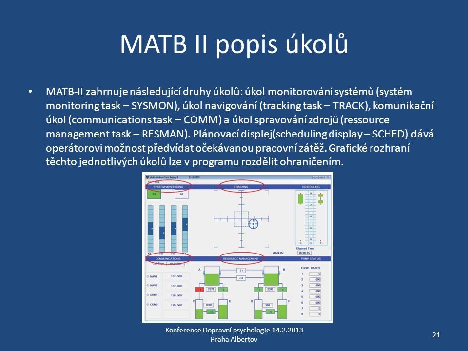 MATB II popis úkolů • MATB-II zahrnuje následující druhy úkolů: úkol monitorování systémů (systém monitoring task – SYSMON), úkol navigování (tracking