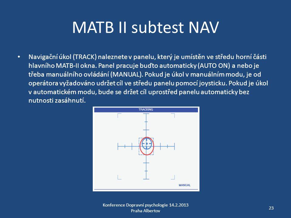 MATB II subtest NAV • Navigační úkol (TRACK) naleznete v panelu, který je umístěn ve středu horní části hlavního MATB-II okna. Panel pracuje buďto aut