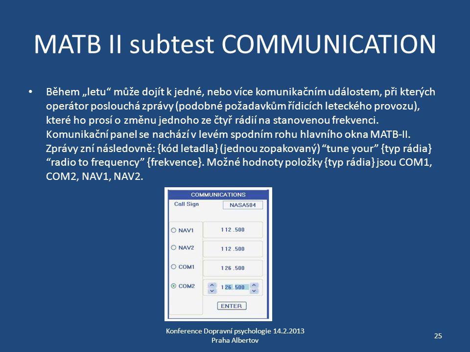 """MATB II subtest COMMUNICATION • Během """"letu"""" může dojít k jedné, nebo více komunikačním událostem, při kterých operátor poslouchá zprávy (podobné poža"""