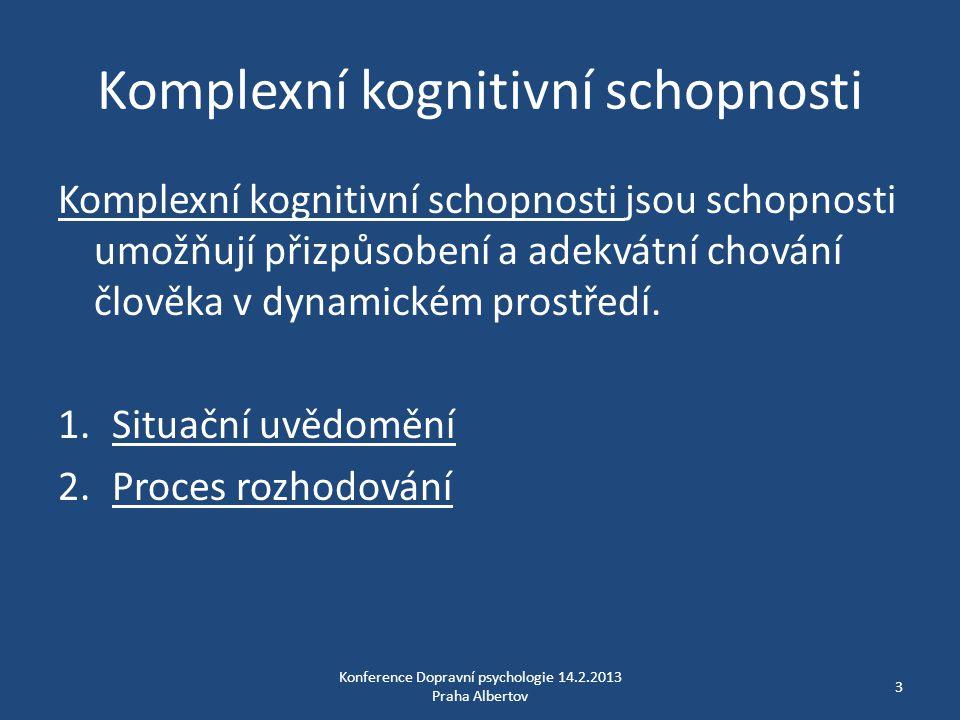 Komplexní kognitivní schopnosti Komplexní kognitivní schopnosti jsou schopnosti umožňují přizpůsobení a adekvátní chování člověka v dynamickém prostře