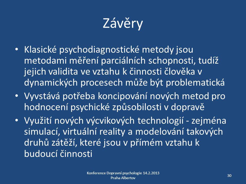 Závěry • Klasické psychodiagnostické metody jsou metodami měření parciálních schopnosti, tudíž jejich validita ve vztahu k činnosti člověka v dynamick
