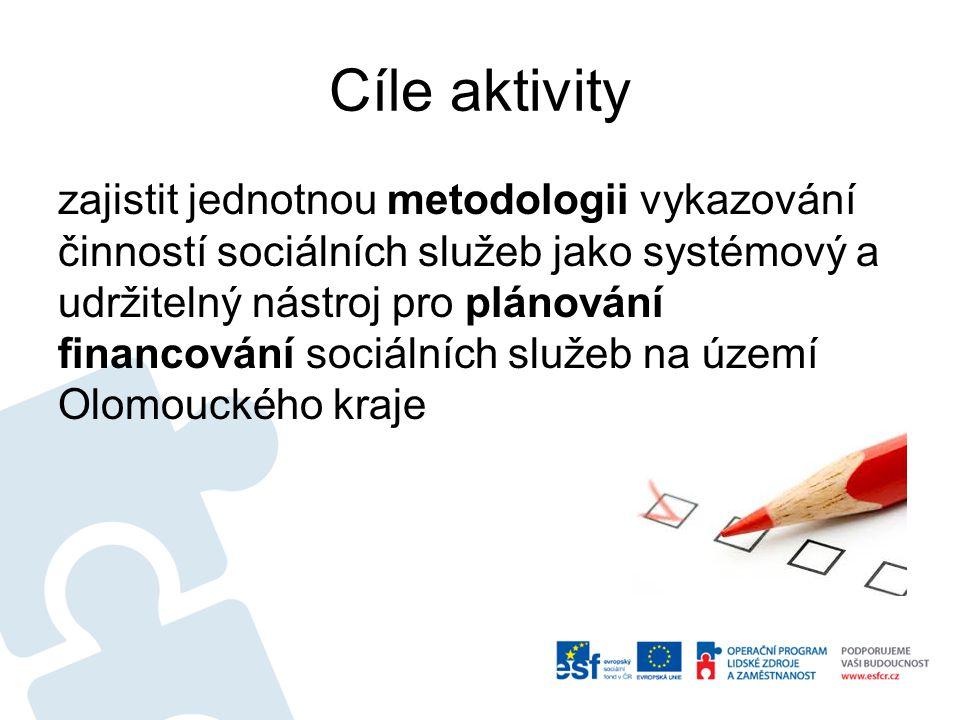 Cíle aktivity sběr dat o síti sociálních služeb a financování této sítě, což se může stát podkladem pro rozhodování Olomouckého kraje při poskytování státních dotací poskytovatelům sociálních služeb