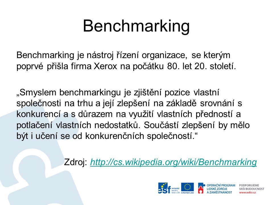 """Benchmarking Benchmarking je nástroj řízení organizace, se kterým poprvé přišla firma Xerox na počátku 80. let 20. století. """"Smyslem benchmarkingu je"""