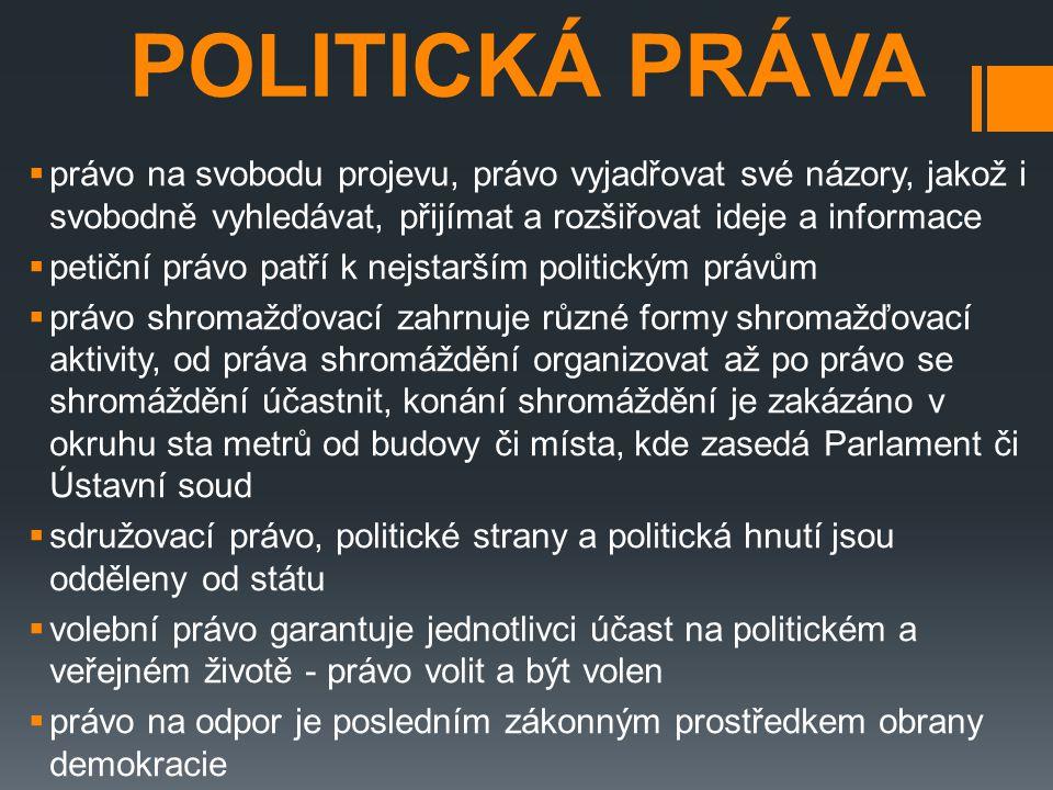 POLITICKÁ PRÁVA  právo na svobodu projevu, právo vyjadřovat své názory, jakož i svobodně vyhledávat, přijímat a rozšiřovat ideje a informace  petičn