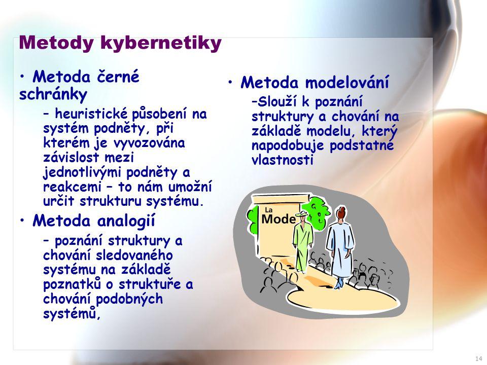 14 Metody kybernetiky • Metoda černé schránky – heuristické působení na systém podněty, při kterém je vyvozována závislost mezi jednotlivými podněty a reakcemi – to nám umožní určit strukturu systému.