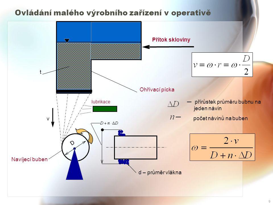 9 Ovládání malého výrobního zařízení v operativě Přítok skloviny Ohřívací pícka lubrikace v t Navíjecí buben d – průměr vlákna D — přírůstek průměru bubnu na jeden návin počet návinů na buben