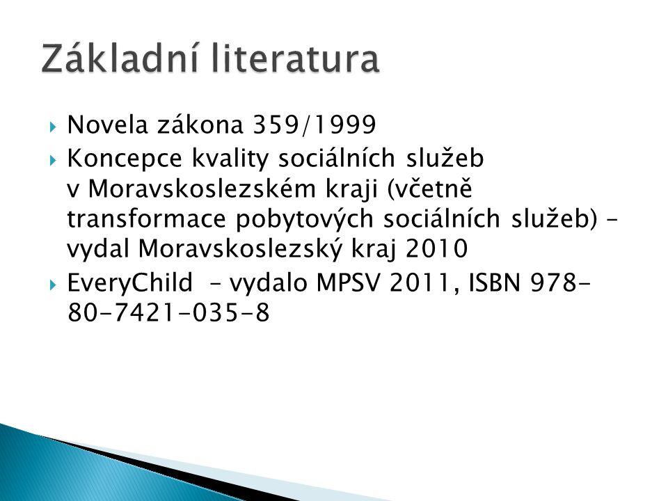  Novela zákona 359/1999  Koncepce kvality sociálních služeb v Moravskoslezském kraji (včetně transformace pobytových sociálních služeb) – vydal Moravskoslezský kraj 2010  EveryChild – vydalo MPSV 2011, ISBN 978- 80-7421-035-8