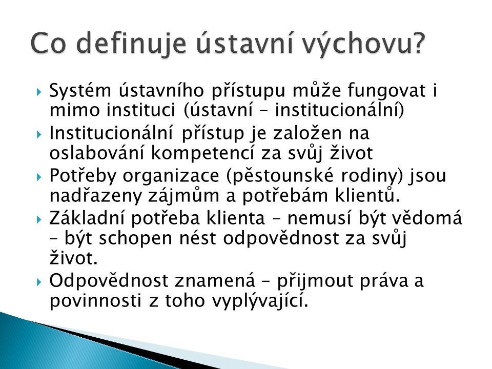  Systém ústavního přístupu může fungovat i mimo instituci (ústavní – institucionální)  Institucionální přístup je založen na oslabování kompetencí za svůj život  Potřeby organizace (pěstounské rodiny) jsou nadřazeny zájmům a potřebám klientů.