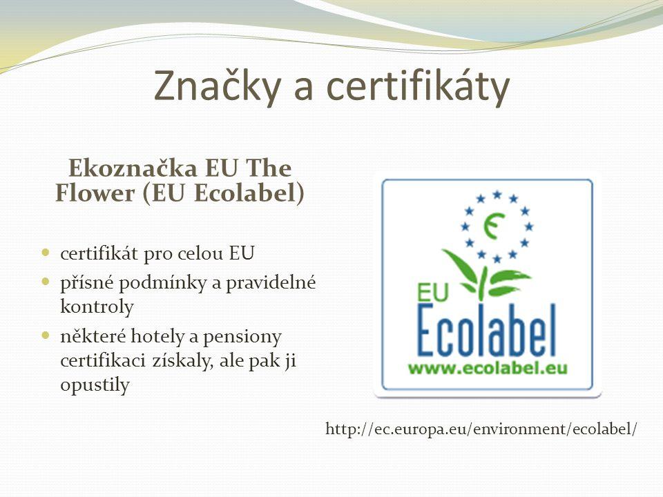 Značky a certifikáty Ekoznačka EU The Flower (EU Ecolabel)  certifikát pro celou EU  přísné podmínky a pravidelné kontroly  některé hotely a pensiony certifikaci získaly, ale pak ji opustily http://ec.europa.eu/environment/ecolabel/
