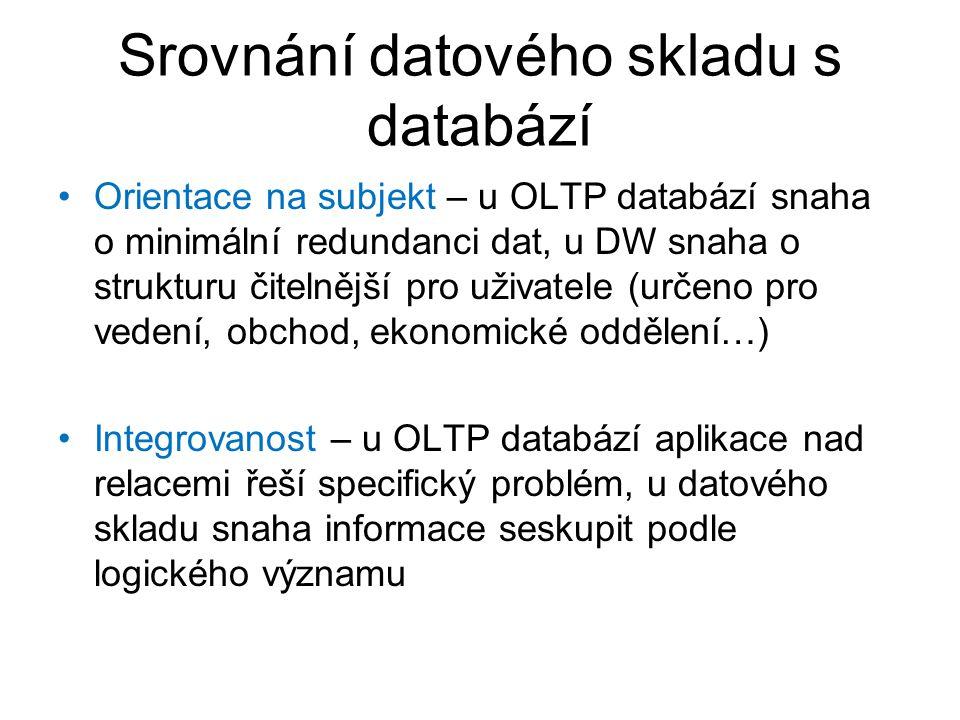 Srovnání datového skladu s databází •Orientace na subjekt – u OLTP databází snaha o minimální redundanci dat, u DW snaha o strukturu čitelnější pro už