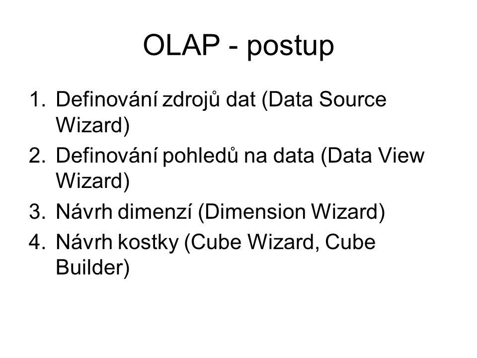 OLAP - postup 1.Definování zdrojů dat (Data Source Wizard) 2.Definování pohledů na data (Data View Wizard) 3.Návrh dimenzí (Dimension Wizard) 4.Návrh