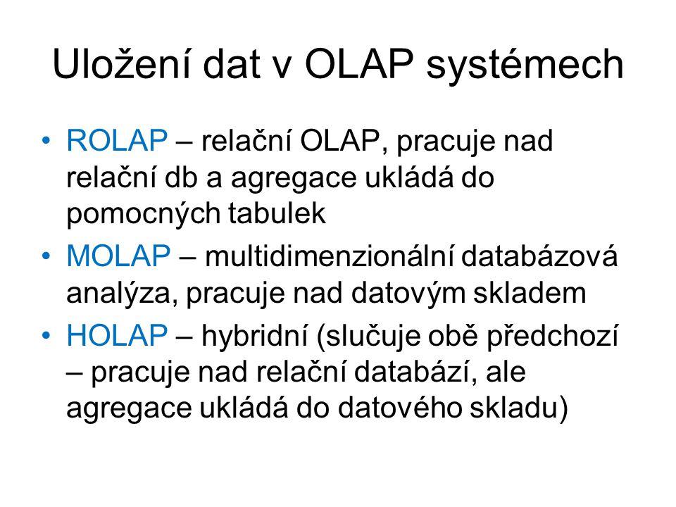 Uložení dat v OLAP systémech •ROLAP – relační OLAP, pracuje nad relační db a agregace ukládá do pomocných tabulek •MOLAP – multidimenzionální databázo