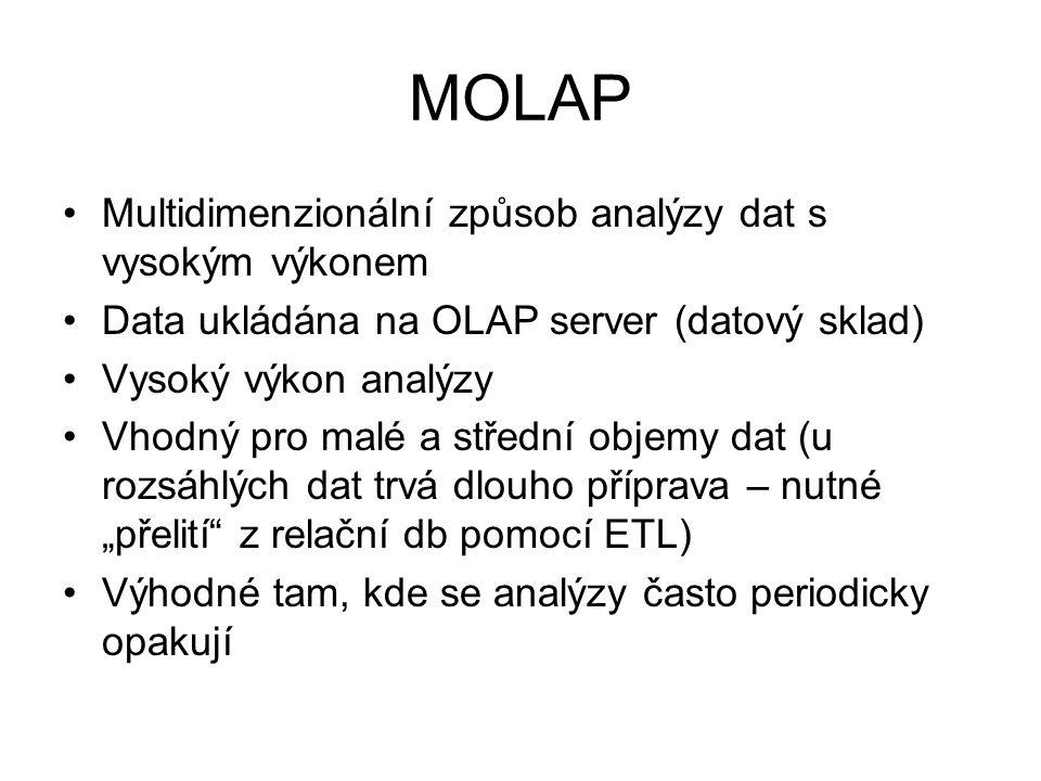 MOLAP •Multidimenzionální způsob analýzy dat s vysokým výkonem •Data ukládána na OLAP server (datový sklad) •Vysoký výkon analýzy •Vhodný pro malé a s