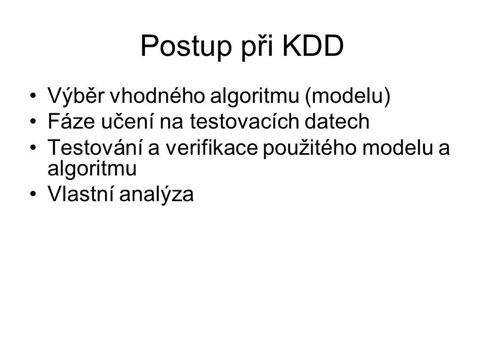 Postup při KDD •Výběr vhodného algoritmu (modelu) •Fáze učení na testovacích datech •Testování a verifikace použitého modelu a algoritmu •Vlastní anal