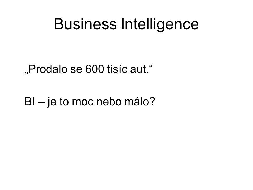 """Business Intelligence """"Prodalo se 600 tisíc aut."""" BI – je to moc nebo málo?"""