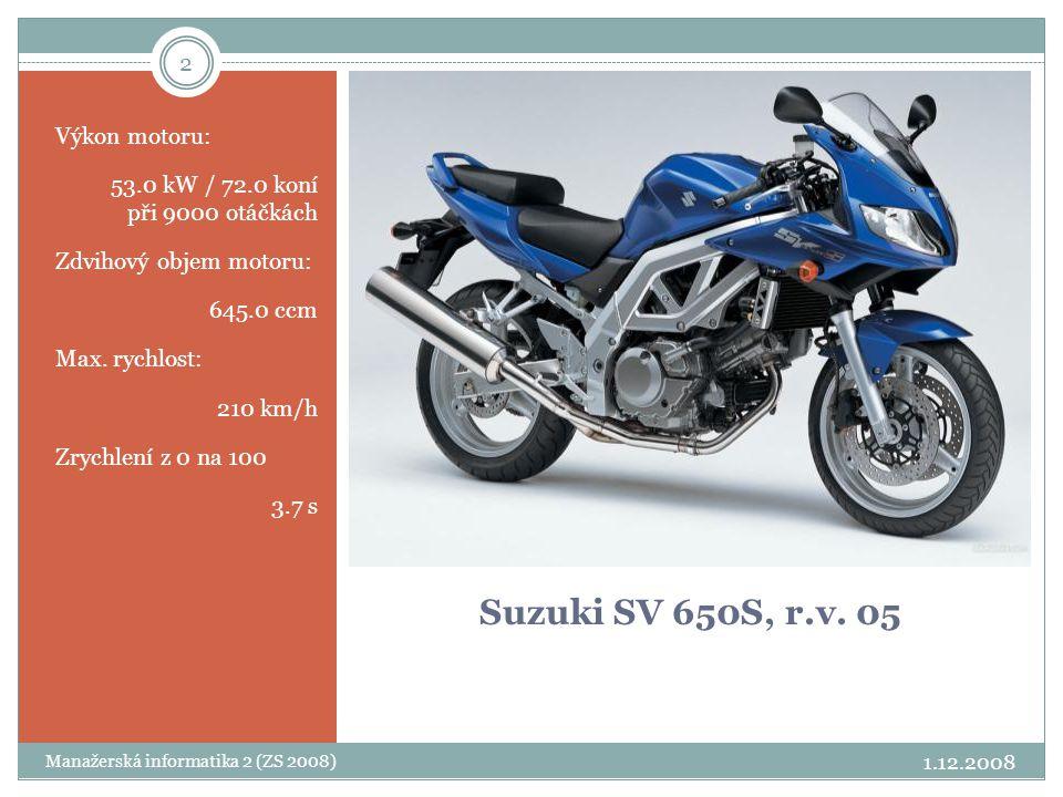 2 Suzuki SV 650S, r.v. 05 Výkon motoru: 53.0 kW / 72.0 koní při 9000 otáčkách Zdvihový objem motoru: 645.0 ccm Max. rychlost: 210 km/h Zrychlení z 0 n