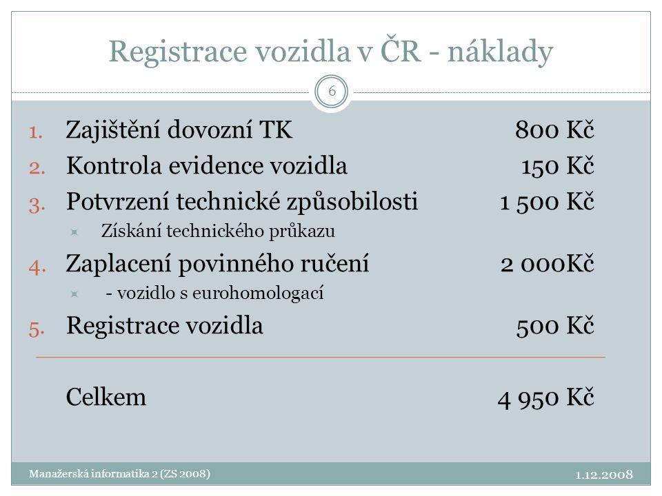 Registrace vozidla v ČR - náklady 1. Zajištění dovozní TK800 Kč 2. Kontrola evidence vozidla150 Kč 3. Potvrzení technické způsobilosti1 500 Kč  Získá