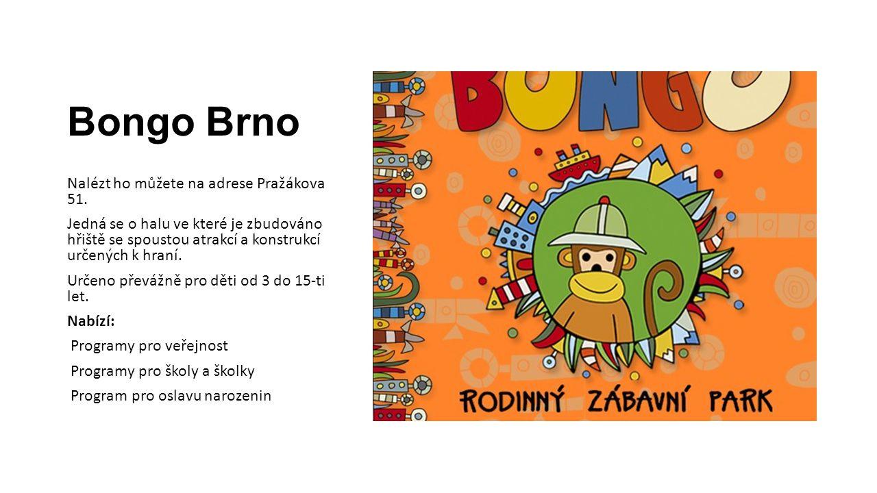 Bongo Brno Nalézt ho můžete na adrese Pražákova 51. Jedná se o halu ve které je zbudováno hřiště se spoustou atrakcí a konstrukcí určených k hraní. Ur