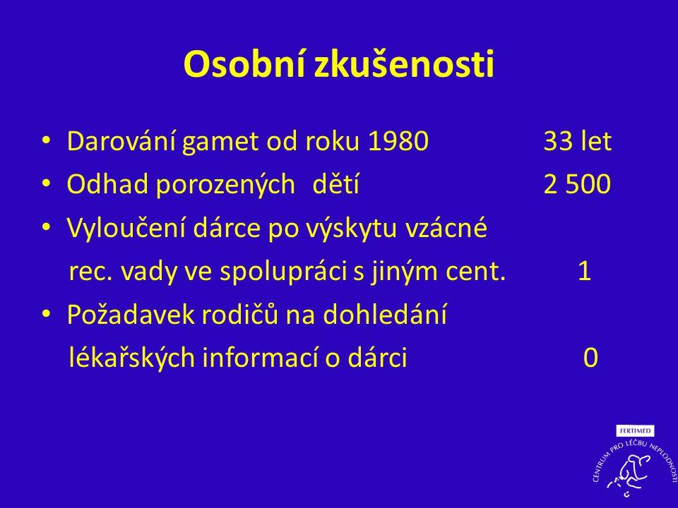 Osobní zkušenosti • Darování gamet od roku 1980 33 let • Odhad porozenýchdětí 2 500 • Vyloučení dárce po výskytu vzácné rec. vady ve spolupráci s jiný