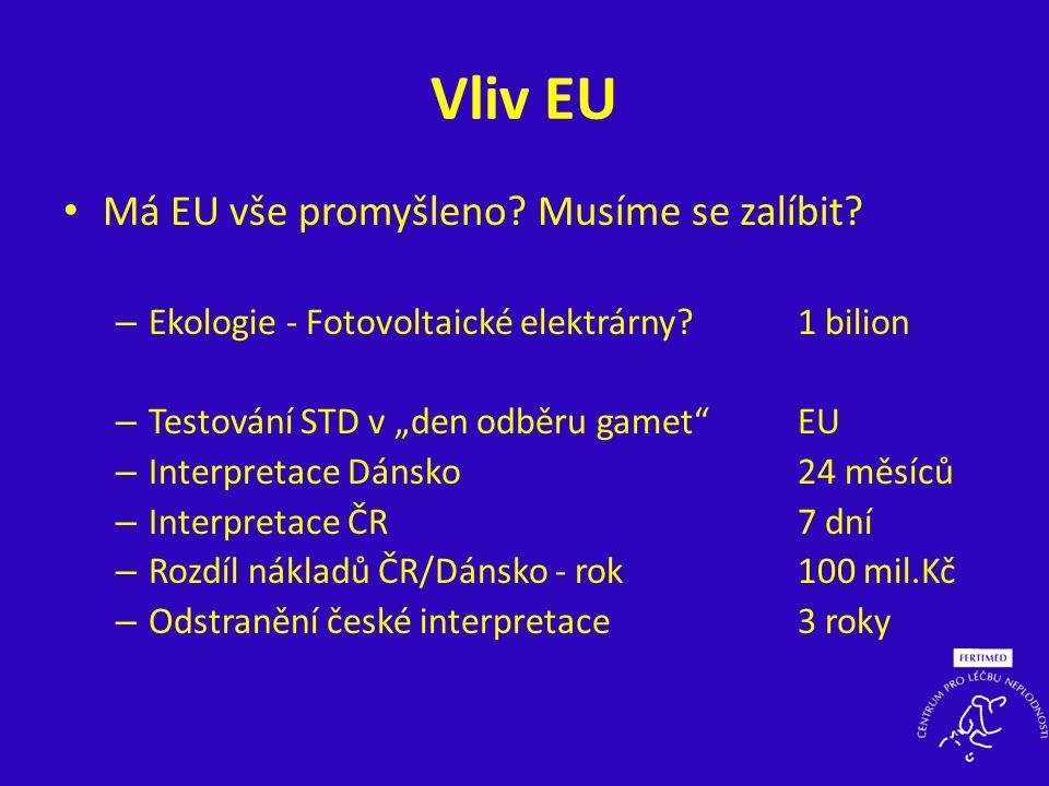 """Vliv EU • Má EU vše promyšleno? Musíme se zalíbit? – Ekologie - Fotovoltaické elektrárny?1 bilion – Testování STD v """"den odběru gamet""""EU – Interpretac"""