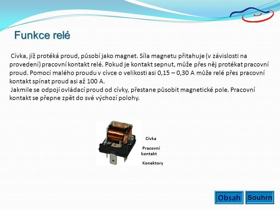 Funkce relé Cívka, jíž protéká proud, působí jako magnet. Síla magnetu přitahuje (v závislosti na provedení) pracovní kontakt relé. Pokud je kontakt s