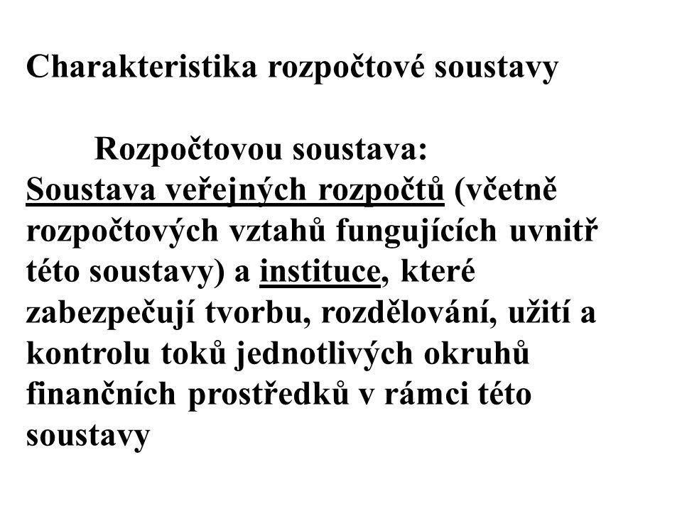 Charakteristika rozpočtové soustavy Rozpočtovou soustava: Soustava veřejných rozpočtů (včetně rozpočtových vztahů fungujících uvnitř této soustavy) a