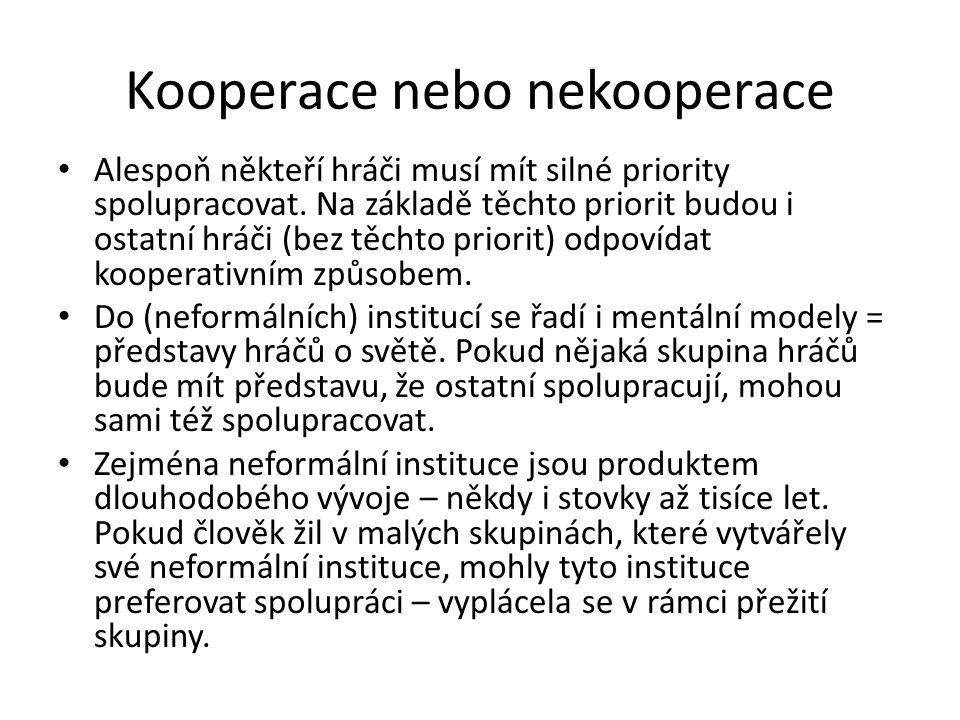 Kooperace nebo nekooperace • Alespoň někteří hráči musí mít silné priority spolupracovat. Na základě těchto priorit budou i ostatní hráči (bez těchto