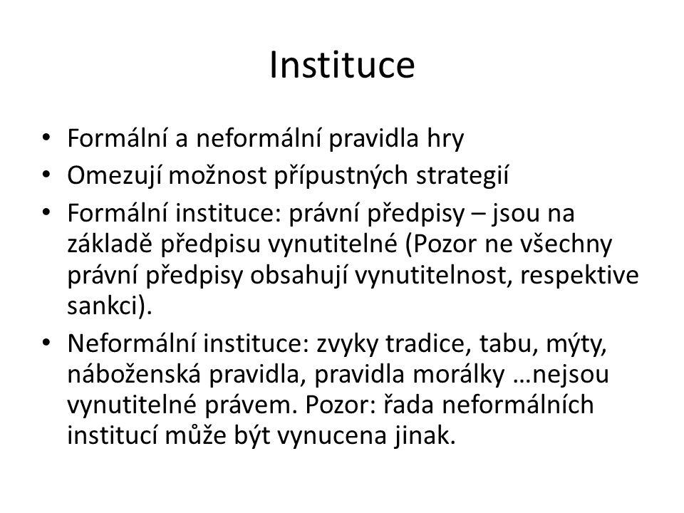 Instituce • Formální a neformální pravidla hry • Omezují možnost přípustných strategií • Formální instituce: právní předpisy – jsou na základě předpis