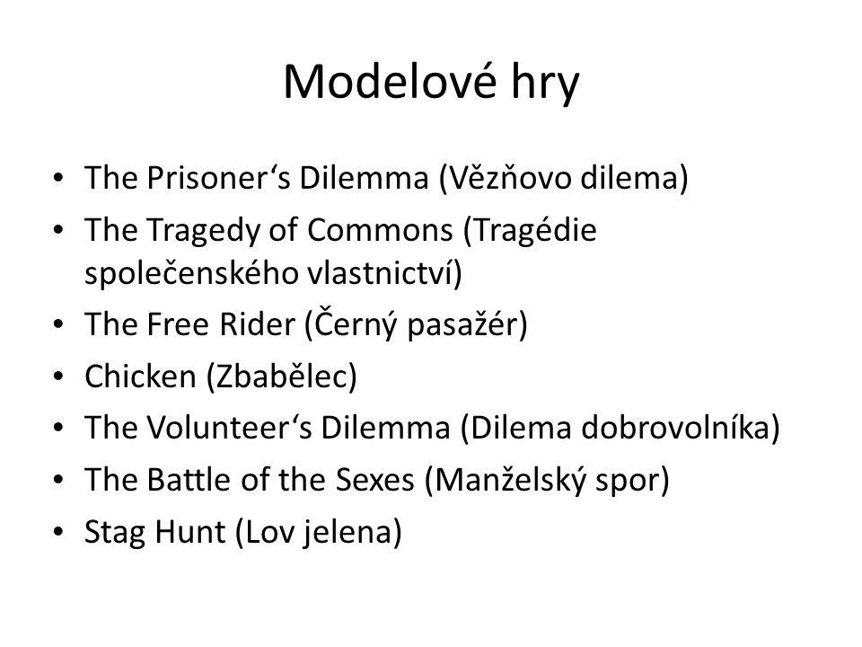 Modelové hry • The Prisoner's Dilemma (Vězňovo dilema) • The Tragedy of Commons (Tragédie společenského vlastnictví) • The Free Rider (Černý pasažér)