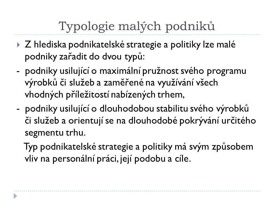 Typologie malých podniků  Z hlediska podnikatelské strategie a politiky lze malé podniky zařadit do dvou typů: - podniky usilující o maximální pružno