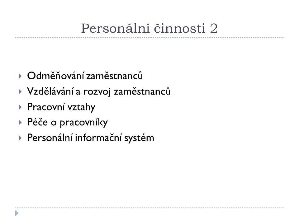 Personální činnosti 2  Odměňování zaměstnanců  Vzdělávání a rozvoj zaměstnanců  Pracovní vztahy  Péče o pracovníky  Personální informační systém