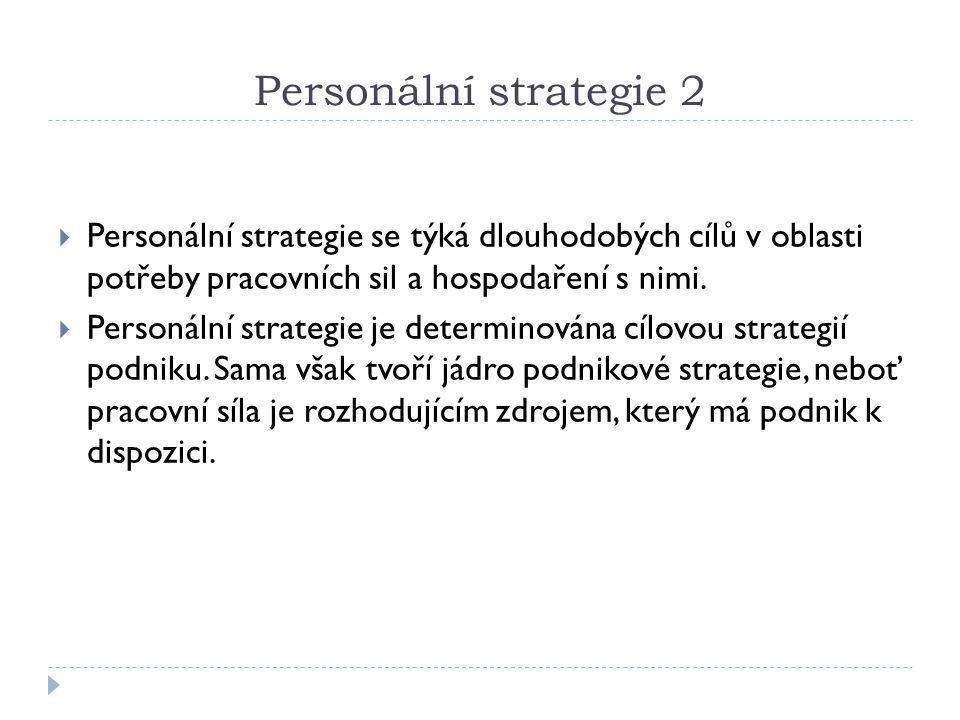 Personální strategie 2  Personální strategie se týká dlouhodobých cílů v oblasti potřeby pracovních sil a hospodaření s nimi.  Personální strategie